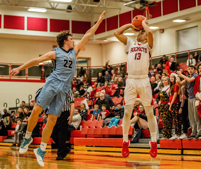 Koby Campbell shoots a jumper over a Clearwater defender on December 20. One game later against El Dorado, Campbell reached 1,000 career points.