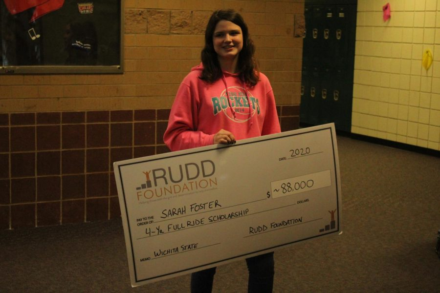 Rose Hill High School senior Sarah Foster was awarded a surprise scholarship from Wichita State on February 24.