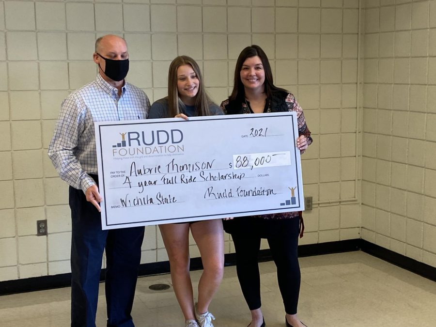 Senior Aubrie Thomison was awarded a full-ride scholarship from the Rudd Foundation. She will be attending Wichita State in the fall.