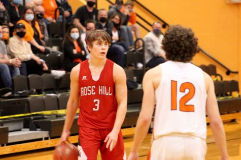 Senior Spencer Nolan looks to initiate the offense in the 4A quarterfinal game against Augusta. The Rockets fell to the Orioles 58-54 and finished the season 15-6.